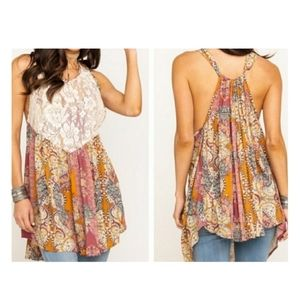 Free People Trapeze Tunic Top Lace Floral Paisley